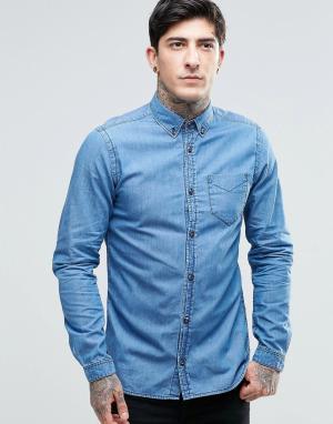 Dr Denim Рубашка Pete. Цвет: синий