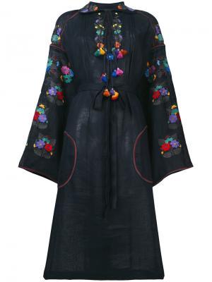 Платье шифт с вышивкой Vita Kin. Цвет: синий