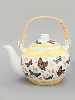 Чайник Бабочки Elan Gallery. Цвет: желтый, белый, коричневый