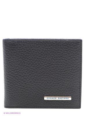 Бумажник с зажимом для денег Avanzo Daziaro. Цвет: черный