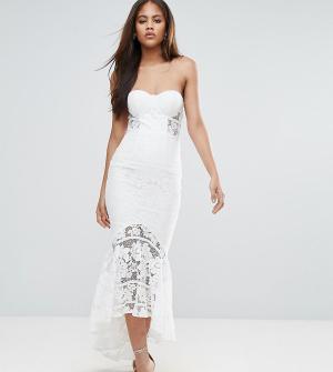 Jarlo Tall Кружевное платье-бандо миди. Цвет: белый