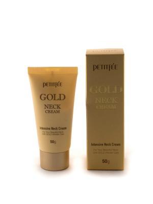 Крем для шеи антивозрастной с золотом, 50гр, PETITFEE. Цвет: белый
