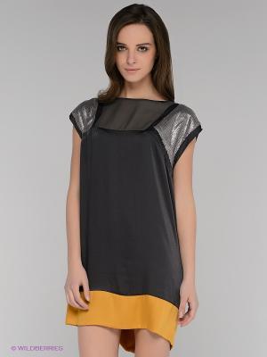 Платье Gaudi. Цвет: темно-серый, горчичный