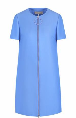 Шерстяное мини-платье с коротким рукавом Emilio Pucci. Цвет: голубой