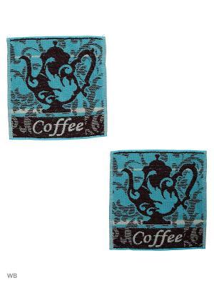 Набор Салфеток махровых пестротканых жаккардовых Кофе-чайник Авангард. Цвет: черный, голубой