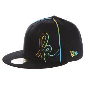 Бейсболка с прямым козырьком  Kaveman New Era 59 Fifty Black Krux. Цвет: черный