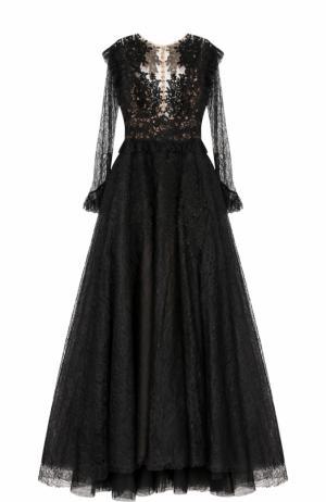 Платье-макси с кружевной отделкой и вышивкой Zuhair Murad. Цвет: черный
