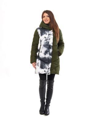 Пальто LaBella Vita. Цвет: зеленый, белый, серый
