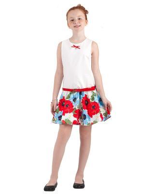 Платье Gulliver. Цвет: белый, голубой, красный