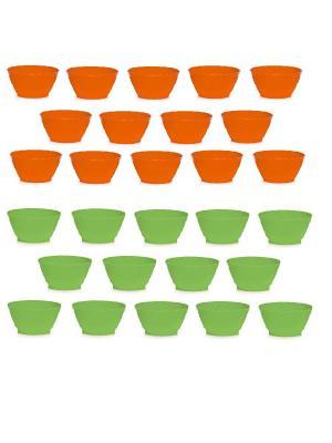 Комплект салатник круглый 0,4л -28 шт. Полимербыт. Цвет: оранжевый, зеленый