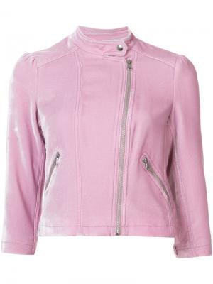 Бархатная куртка в байкерском стиле Rebecca Taylor. Цвет: розовый и фиолетовый