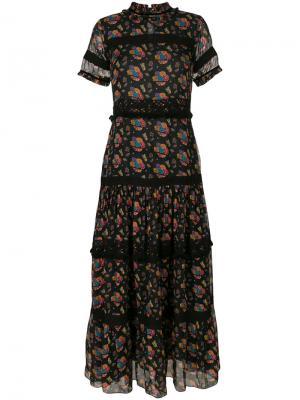 Платье макси с цветочным принтом Carolina K. Цвет: чёрный