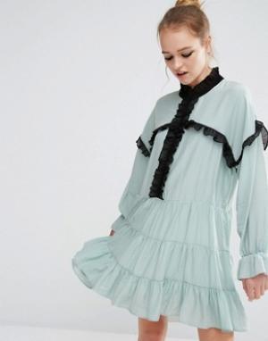 Sister jane Свободное платье с рюшами. Цвет: синий