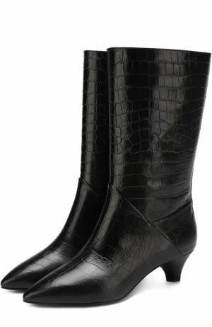 Кожаные сапоги с тиснением на устойчивом каблуке Marni. Цвет: черный