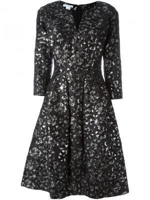 Расклешенное платье с вышивкой Oscar de la Renta. Цвет: чёрный