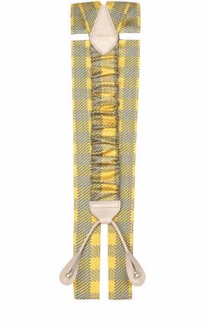 Подтяжки из шелка с отделкой натуральной кожи Brioni. Цвет: желтый