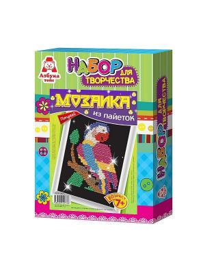 Картина из пайеток Попугай Азбука Тойс. Цвет: зеленый, голубой
