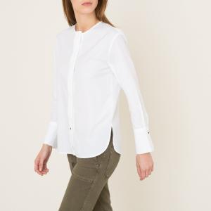 Блузка без воротника POMANDERE. Цвет: белый