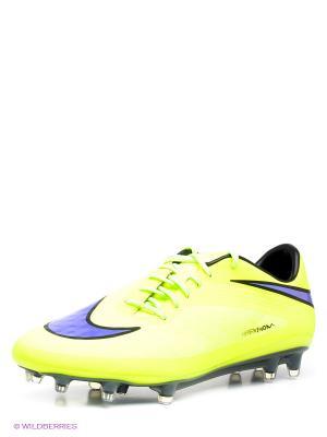 Бутсы HYPERVENOM PHATAL FG Nike. Цвет: желтый, сиреневый