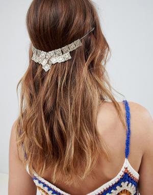ASOS Заколка для волос с цепочками и стразами DESIGN. Цвет: золотой
