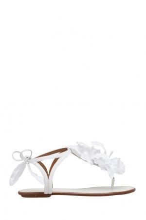Замшевые сандалии Flora Sandal Flat Bridal Aquazzura. Цвет: белый