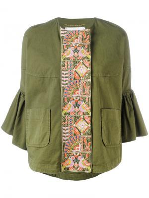 Пиджак с рукавами-клеш и вышивкой Bazar Deluxe. Цвет: зелёный