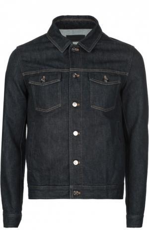 Джинсовая куртка с контрастной прострочкой Ermenegildo Zegna. Цвет: темно-синий