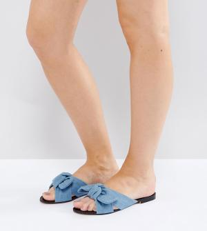 Lost Ink Wide Fit Джинсовые сандалии для широкой стопы с бантом. Цвет: синий