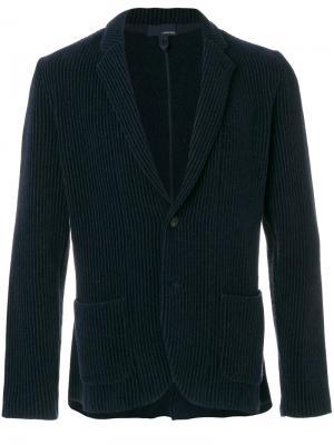 Пиджак в рубчик с накладными карманами Lardini. Цвет: синий