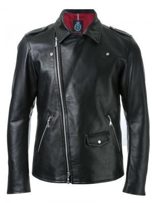 Байкерская куртка со смещенной молнией Guild Prime. Цвет: чёрный