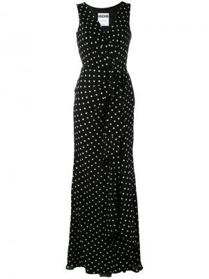 Длинное платье в горох Moschino. Цвет: чёрный