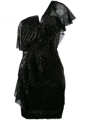 Платье Teno Nero с отделкой пайетками La Mania. Цвет: чёрный