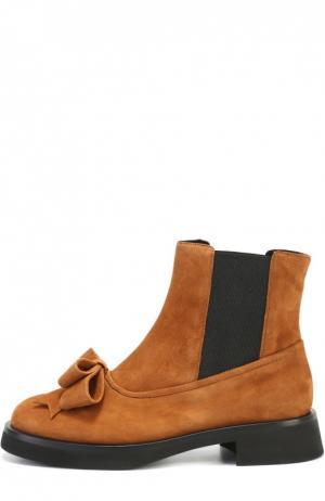 Замшевые ботинки Aleksander с бантом Aleksandersiradekian. Цвет: коричневый