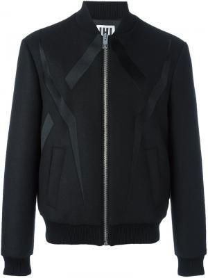 Куртка-бомбер с контрастными деталями Les Hommes Urban. Цвет: чёрный