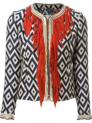 Жаккардовый укороченный пиджак с бахромой Bazar Deluxe. Цвет: многоцветный