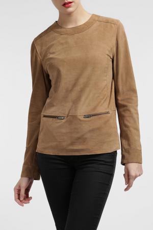 Кожаный блузон Cruse. Цвет: коричневый