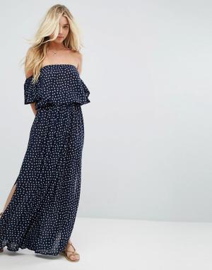 Faithful the Brand Платье макси с открытыми плечами Faithfull. Цвет: темно-синий