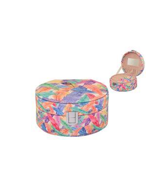 Шкатулка Перышки круглая Elan Gallery. Цвет: салатовый, фиолетовый, красный, оранжевый