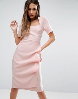 ASOS Платье с каскадной драпировкой на юбке. Цвет: розовый