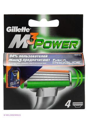 Сменные кассеты для бритья MACH3 Power, 4 шт. GILLETTE. Цвет: черный