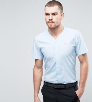 Hart Hollywood Узкая рубашка с V-образным вырезом и короткими рукавами. Цвет: синий
