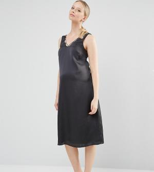 ASOS Maternity Платье-комбинация миди для беременных. Цвет: черный