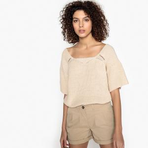 Пуловер с вырезом-лодочкой из тонкого трикотажа SEE U SOON. Цвет: экрю