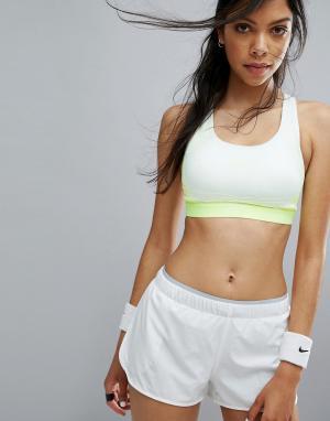 Nike Бело-желтый поддерживающий спортивный бюстгальтер Pro Hyper Class. Цвет: белый