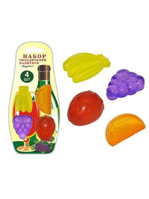 Набор 4 охладителей для напитков Фрукты МультиДом. Цвет: желтый, красный, фиолетовый
