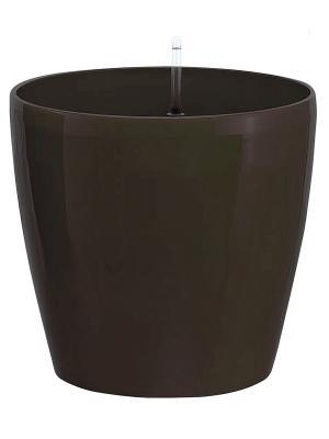 GREEN APPLE Круглый горшок с автополивом 28*28*26 венге. Цвет: коричневый