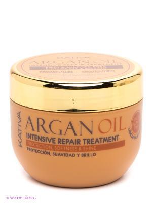 Интенсивно восстанавливающий увлажняющий уход Kativa с маслом Арганы ARGAN OIL. Цвет: светло-коричневый, золотистый