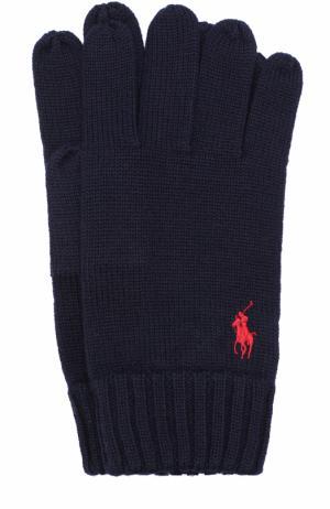 Шерстяные перчатки Polo Ralph Lauren. Цвет: темно-синий