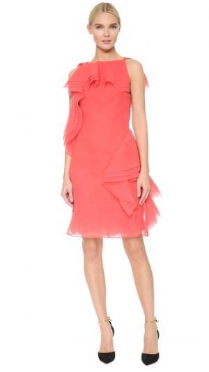 Асимметричное платье с оборкой Jason Wu. Цвет: ягода