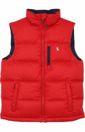 Пуховой жилет с логотипом бренда Polo Ralph Lauren. Цвет: красный